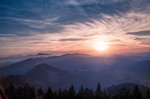 Sunrise in the Black forest in Germany