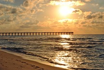Daybreak at the fishing pier on Pensacola Beach, Florida.