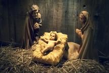 Wooden nativity scene