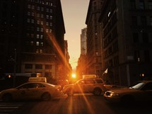 Taxi cabs at sunset in NYC.