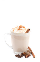 Spiced Drink with Cinnamon Stick on a White Background