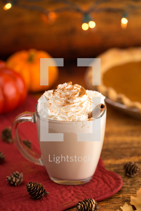 Pumpkin Pie Spiced Latte in a Clear Glass Mug