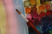 art supplies on a pastel background