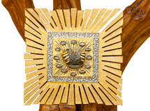 Golden Tabernacle on wooden tree isolated on white background