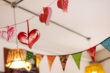 Banner of paper hearts.