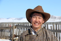 Mongolian Church leader in traditional clothing