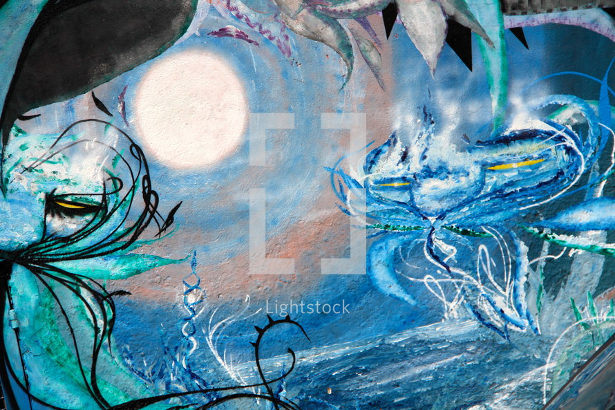 Blue abstract art. sea swirling plants blowing.