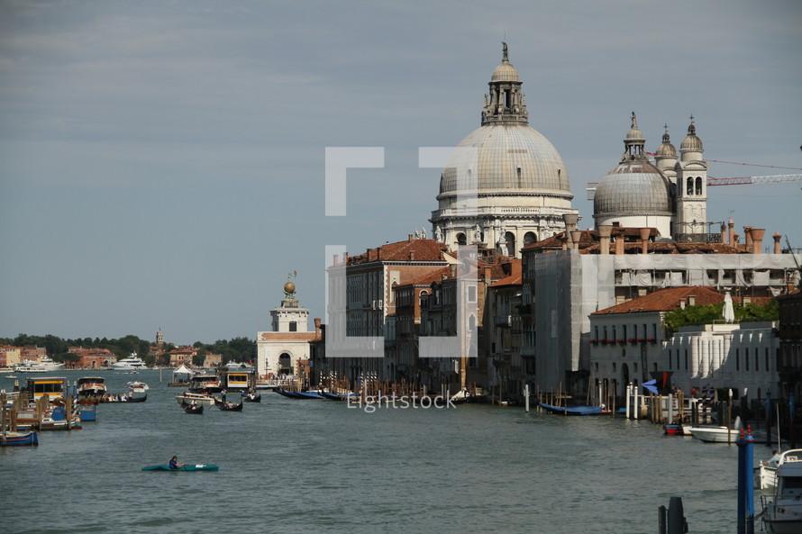 villas in Venice and the Santa Maria della Salute Basilica cathedral