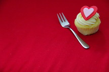 Valentine's day cupcake and fork