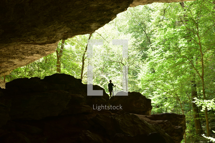 hiking in a cave