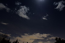 Clouds in the moonlit sky at night.