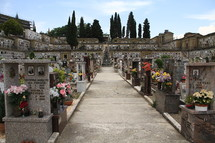 flowers and photos on grave markers in a cemetery