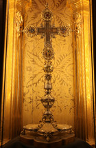"""True Cross"", a splendid century reliquary worked in gold and covered with jewels. The cross is located inside the Cathedral of Palma de Mallorca"
