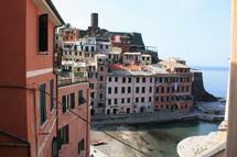 colorful houses along Italian coastline
