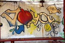 Jesus Loves You Graffiti, Heart & Smiley Face