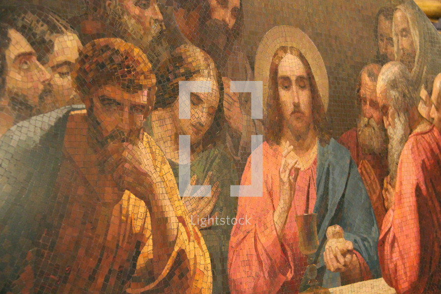 Mosaic of the last supper. Jesus in the Upper Room.