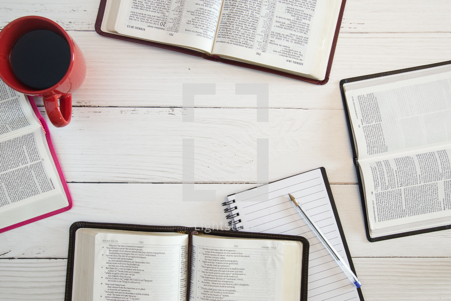 group Bible Study on a White Wood Table