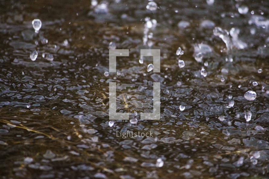 rain hitting a puddle