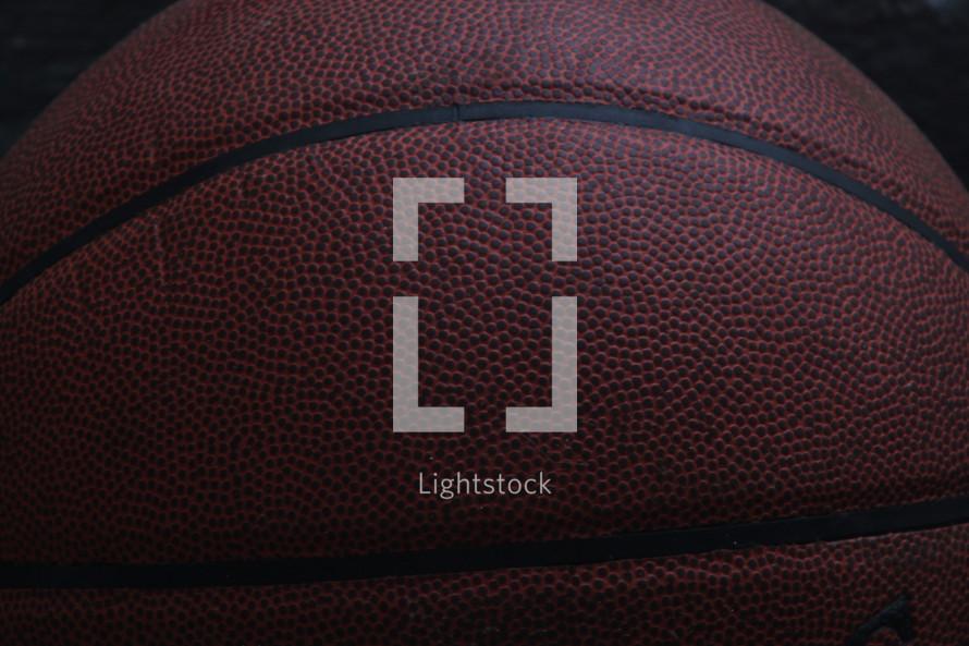 Closeup of a basketball.