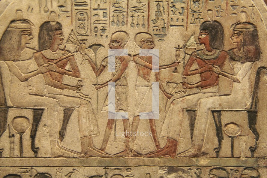 Ancient Egyptian lifestyle, hieroglyphics and pictograms