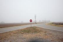rural roads in fog