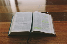 Bible open to Ephesians on a wooden table.