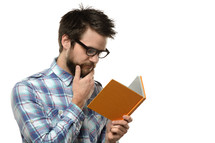 Man reading a book.