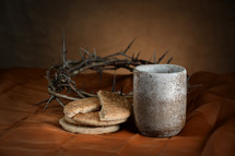 communion, bread, crown of thorns, cup, wine, sacrament