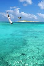 sailboat on a tropical beach