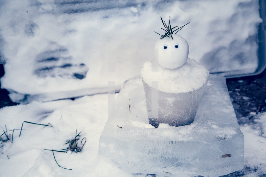 Tiny Snowman with an ice bucket for a body welcomes winter and has a surprised expression. Winter Fun!