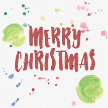 Water color illustration with detailed background paper texture.  Merry Christmas lettering and paint splatters.