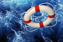 life preserver in the sea