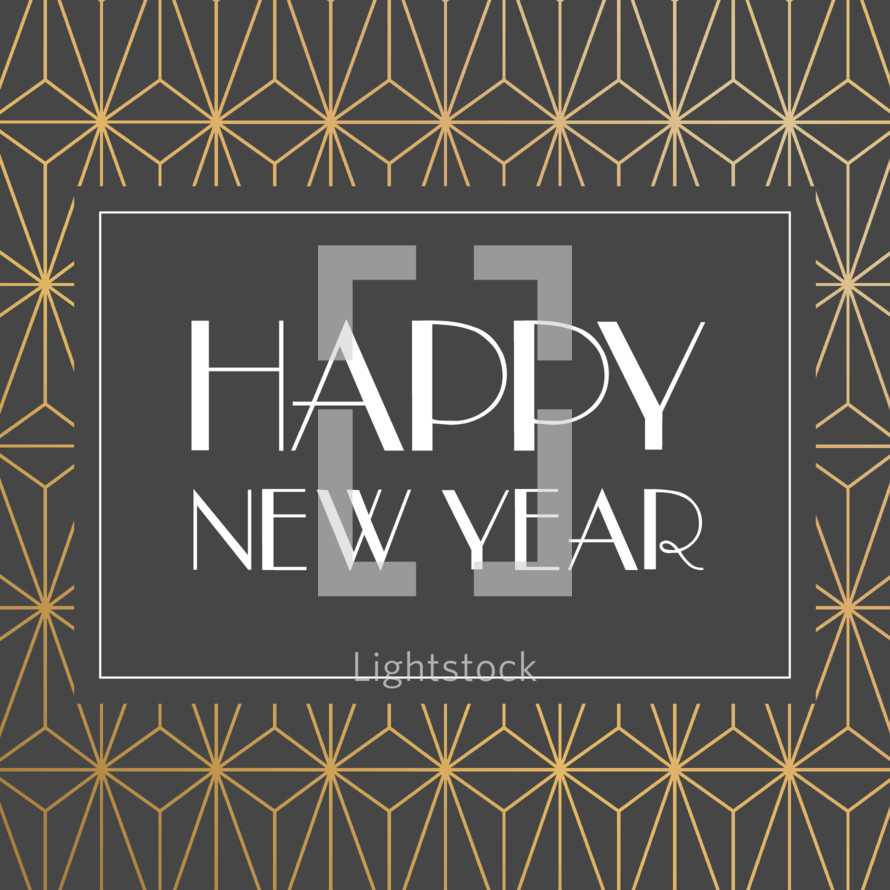 happy new year words in gold art deco for social media