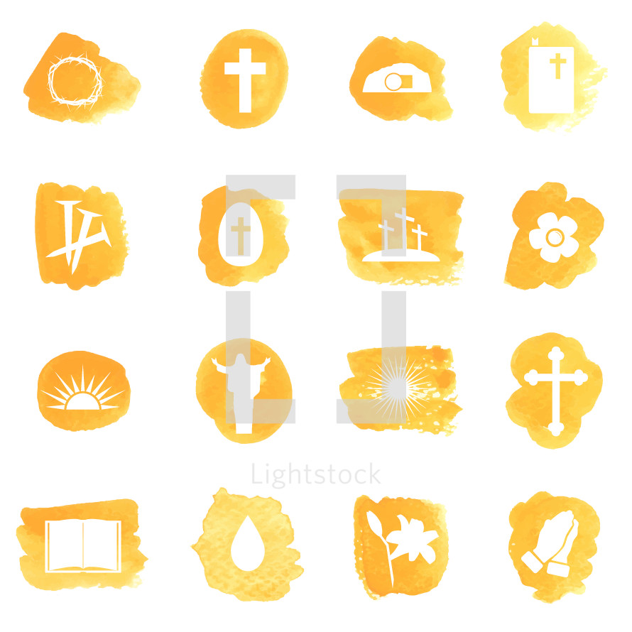 Vector watercolor icon pack for Easter.  Hidden layer available for changing colors, icons are on separate layer for easy editing.