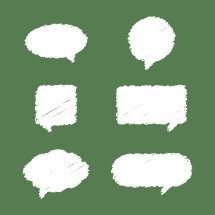 Scribbled conversation bubbles vector elements.