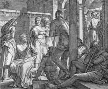 Peter denies Jesus three times, Luke 22: 54-62