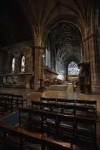 interior of an abbey in Scotland