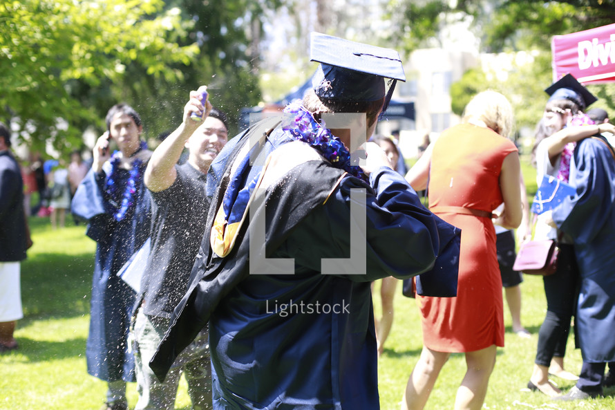celebration after a college graduation ceremony