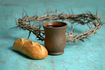 crown of thorns bread and wine