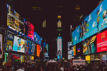 crowds in Times Square at night