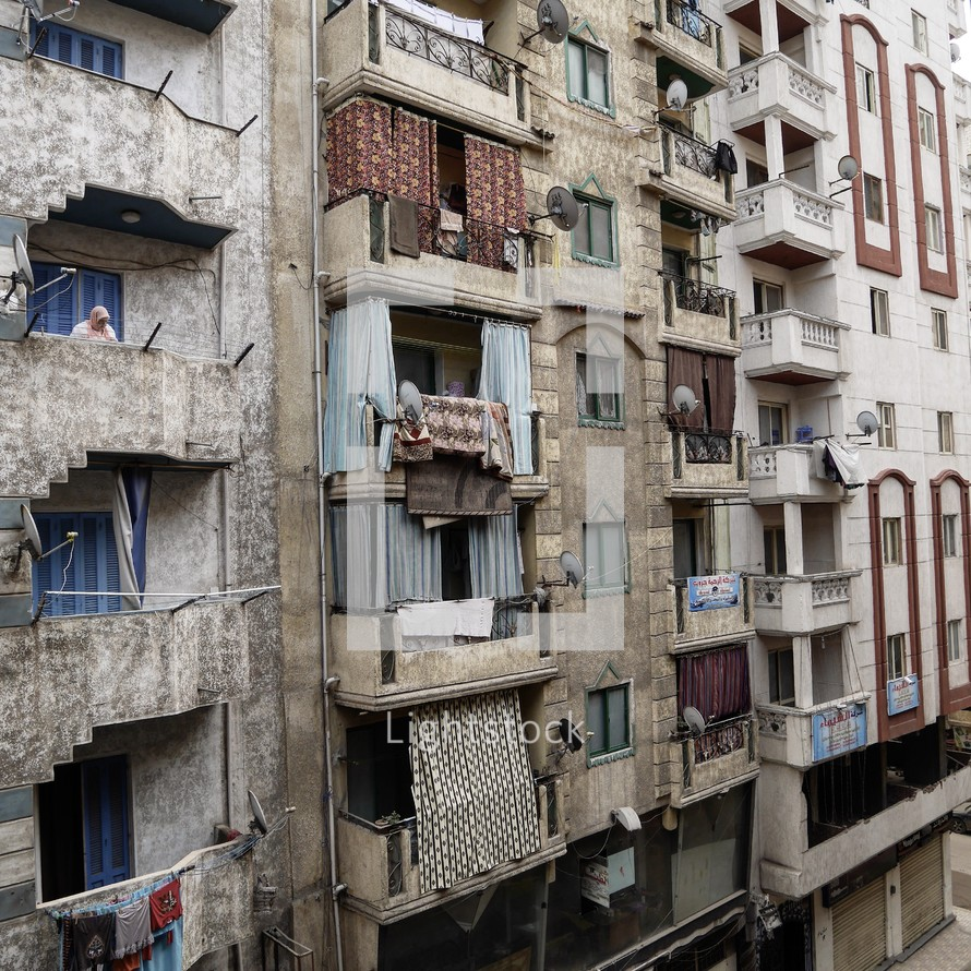Curtains on apartment balconies in alexandria,... — Photo ...