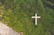 cross on moss