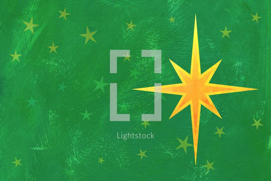 Christmas star on green