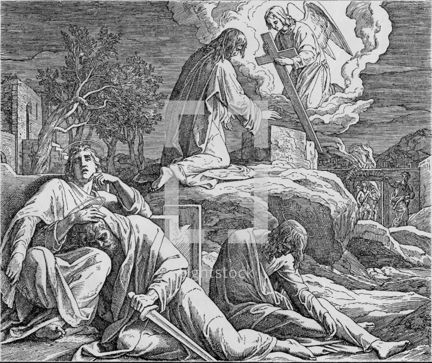 Jesus praying in the garden of Gethsemane, Matthew 26, 36-46