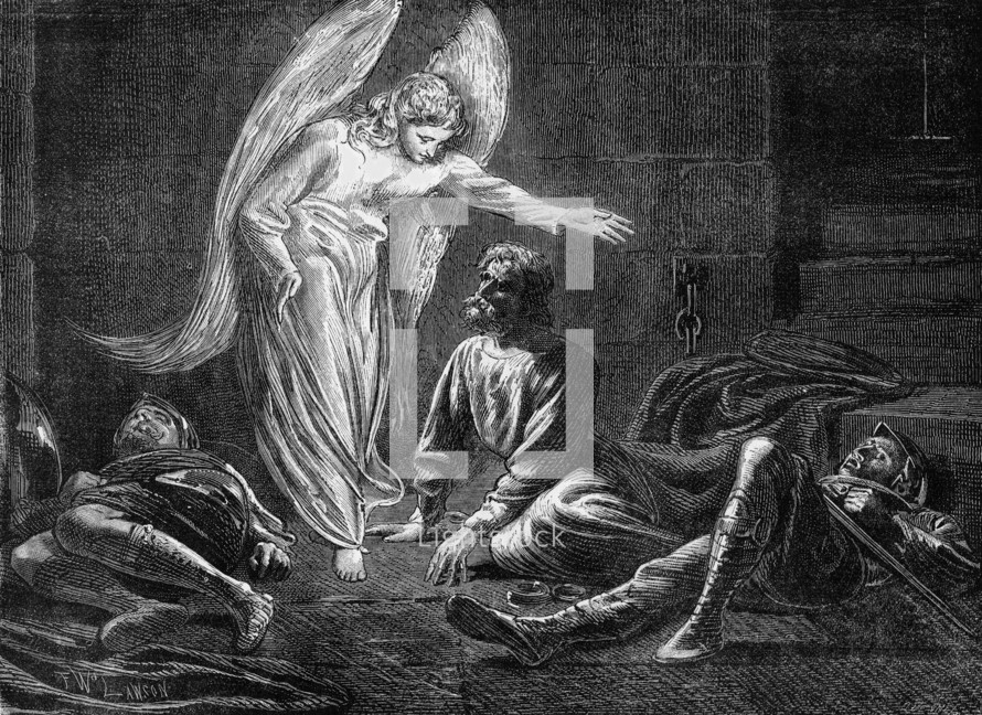 Peter rescued by the angel, Acts 12:11