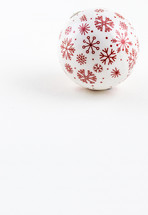 Red and white Christmas ball on a white background.