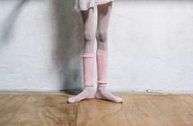 legs of a ballerina in dance class