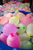 buckets of water balloons