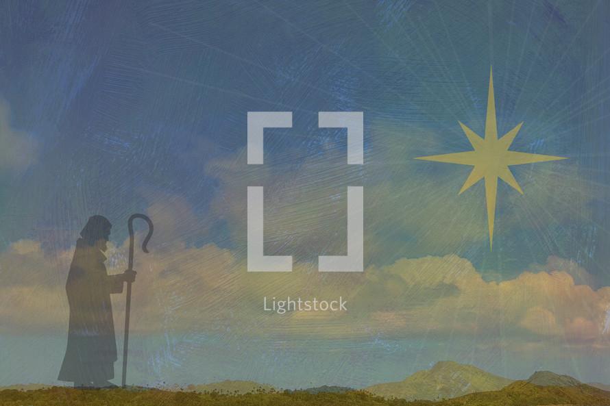 Shepherd and star of Bethlehem