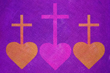 cross and hearts in purple and gold